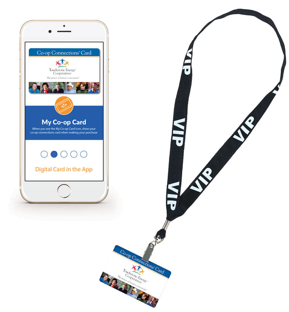 Picture of cellphone and membership card on a lanyard