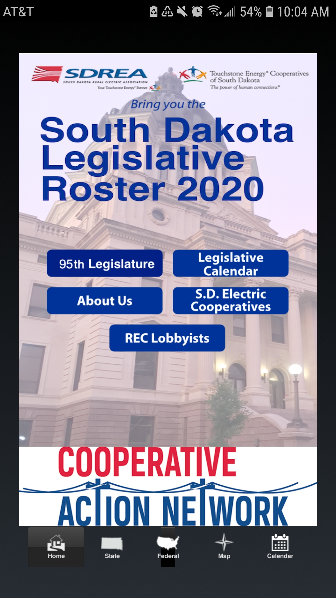 Picture of Legislative Mobile App Homepage